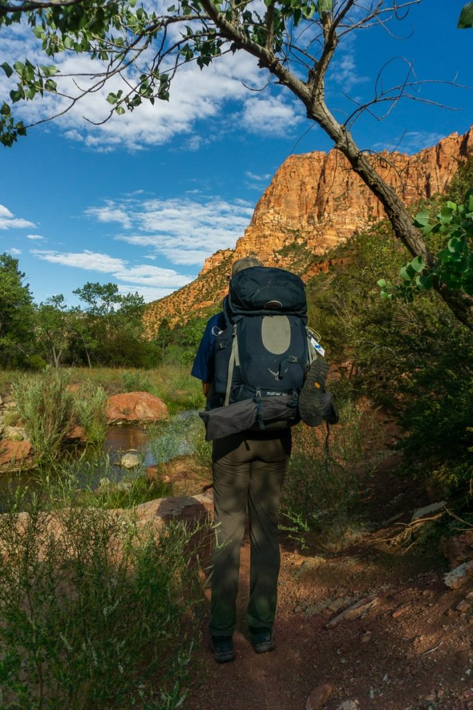Man hiking with a backpack on and mountains in the distance