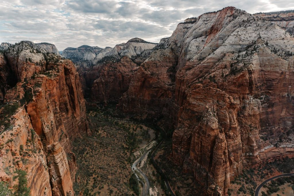 Landscape picture from the top of Angles Landing, overlooking Zion Canyon