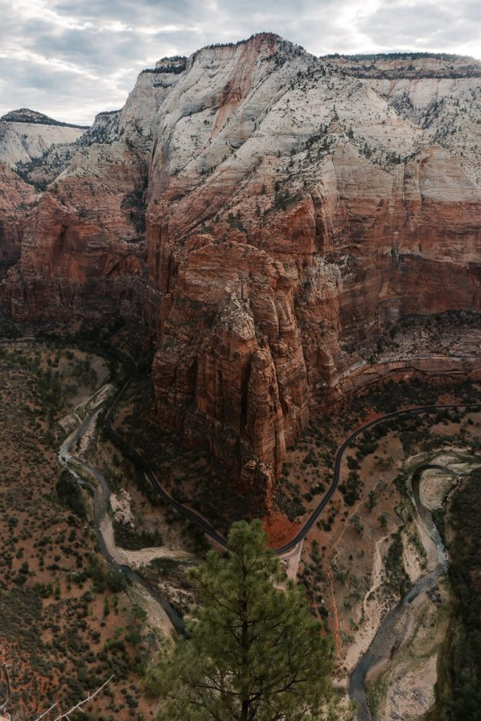 Ariel view of Zion National Park from atop Angels Landing