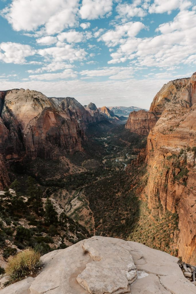 View from the top of Angles Landing, overlooking the towering red cliffs of Zion National Park