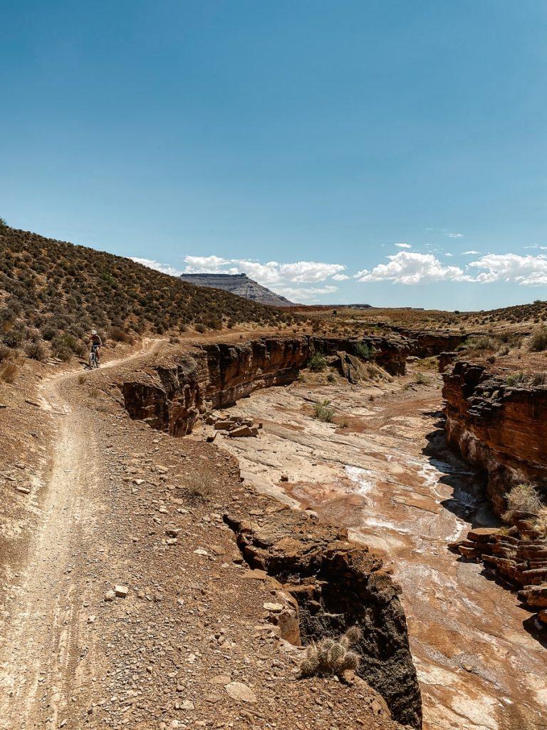 Dirt bike trail running along a deep gulch