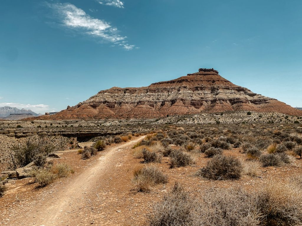Dirt bike road with a butte in the background