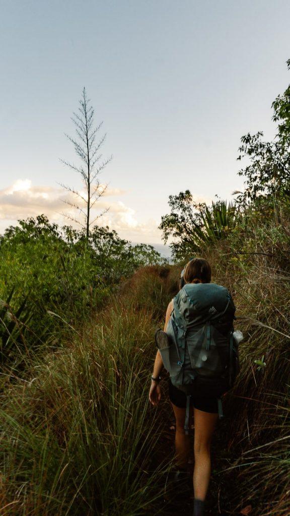 Girl backpacking the Kalalau Trail