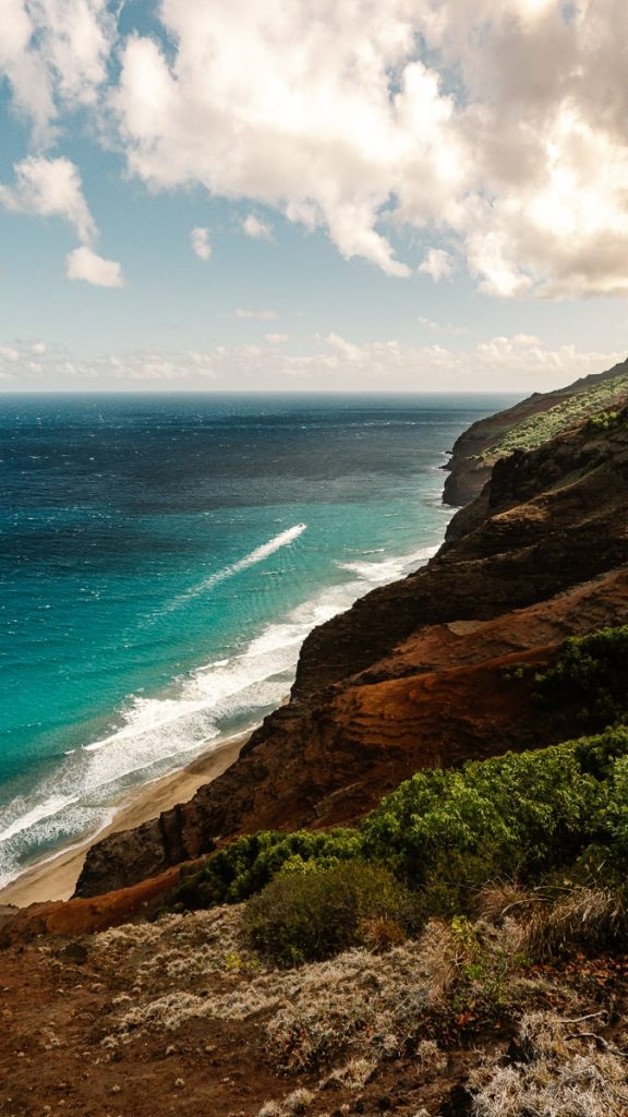 View of the ocean while backpacking the Kalalau Trail