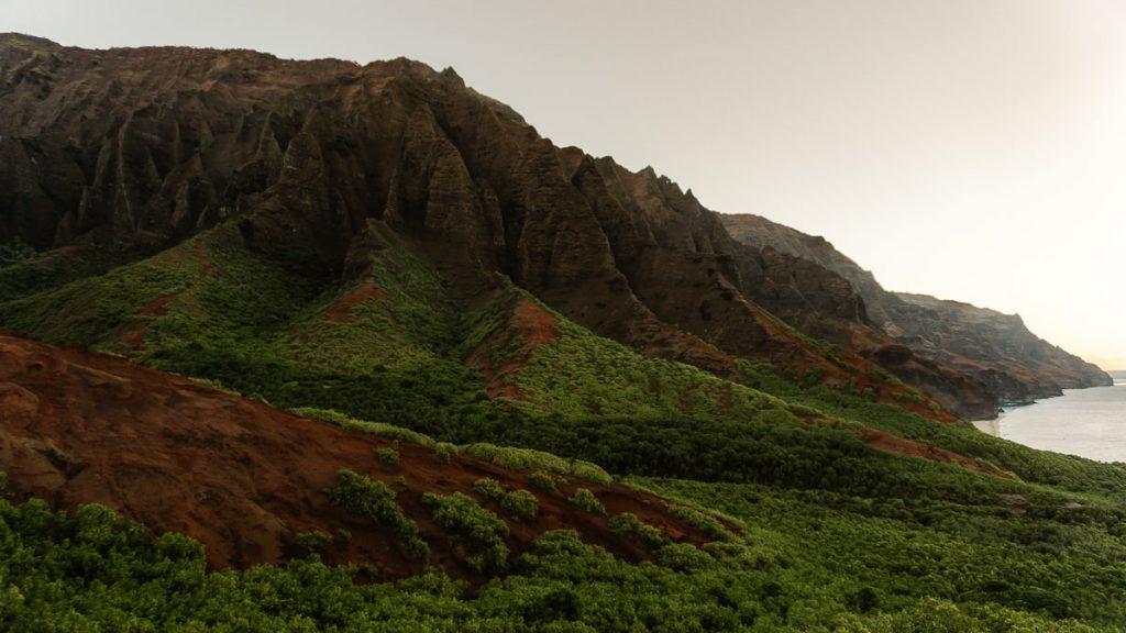 Large green cliffs of the Na Pali Coast on Kauai